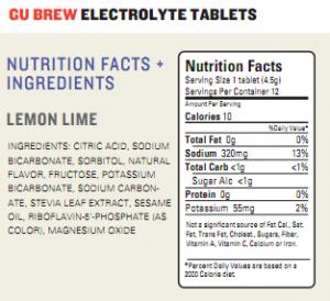 GU Brew Electrolyte Tablet Ingredients