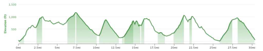Ray Miller 50k Elevation Profile